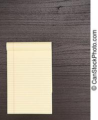 bois, bloc-notes, bureau jaune