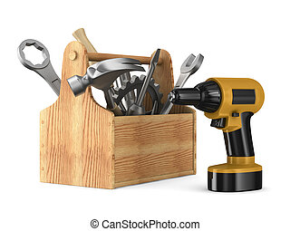 Bois outils bo te outils 3d rendre illustration de for Outil 3d