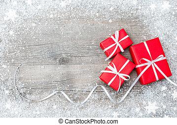 bois, boîtes, cadeau, fond