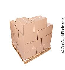 bois, boîtes, carton, palette