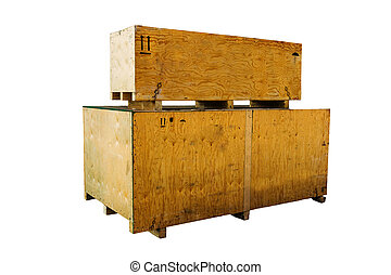 bois, boîtes, isolé, fond