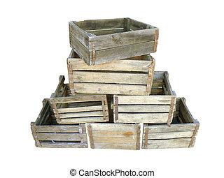 bois, boîtes, vieux, fond blanc