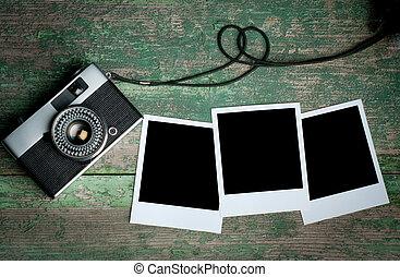 bois, bon appareil-photo, table, photo