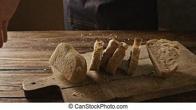 bois, boulanger, coupé, planche, appétissant, frais, ...