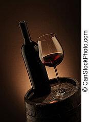 bois, bouteille verre, baril, vin rouge