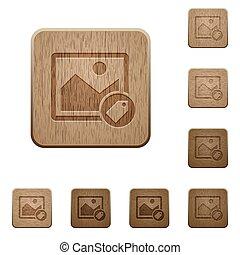 bois, boutons, image, étiquetage