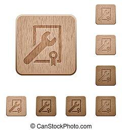 bois, boutons, soutien, récompense, enjôleur