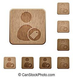 bois, boutons, utilisateur, étiquetage