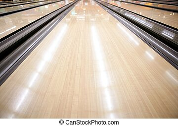 bois, bowling, rue, perspective, plancher