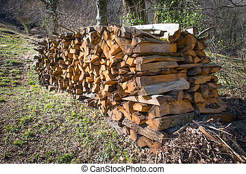 bois brûler, empilé