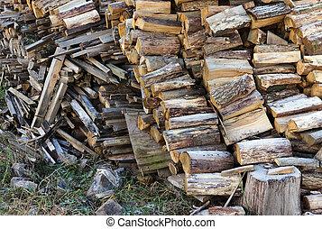 bois brûler, forêt, bois, pile