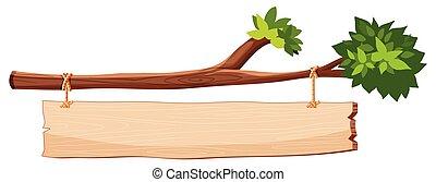 bois, branche arbre, signe