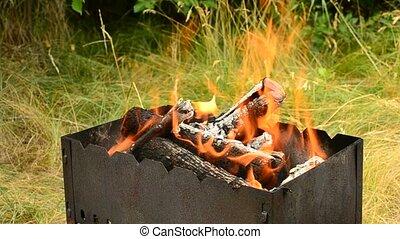 bois, brasero, journaux bord, brûlé, dehors