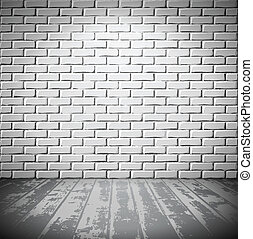 bois, brique blanche, salle, plancher