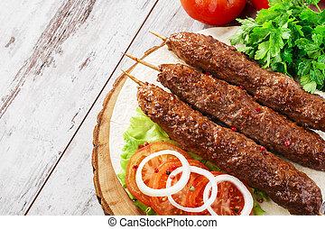 bois, brochettes, kebabs shish