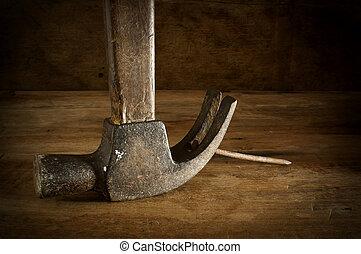 bois, brown., marteaux, vieux, table