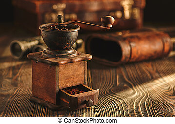 bois, broyeur, café, table.