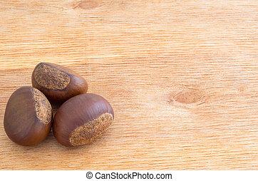 bois, brun, châtaignes, table