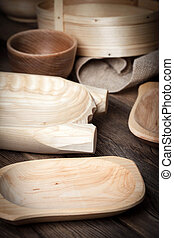 bois, brun, table., vieux, ustensiles