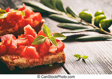 bois, bruschetta, table