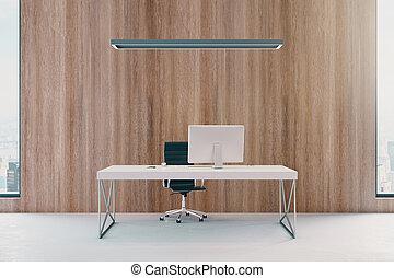 bois, bureau, à, lieu travail
