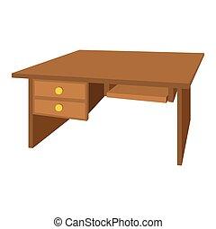 bois, bureau bureau, dessin animé, icône