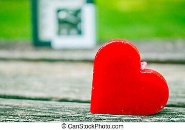 bois, cœurs, arrière-plan.
