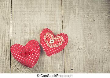 bois, cœurs, deux, fond, pendre