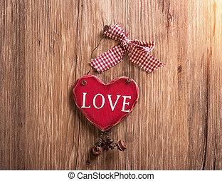 bois, cœurs, rouges