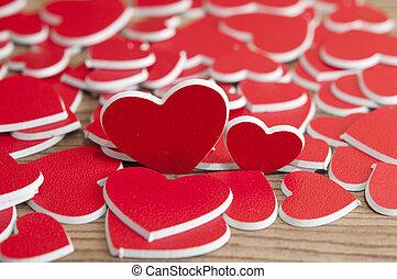 bois, cœurs, table