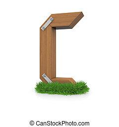 bois, c, herbe, lettre