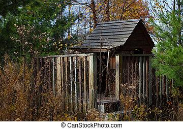 Vieux banc bois cabane fen tre ferm fa ade porte citrouille - Porte cabane bois ...