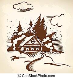 bois, cabine