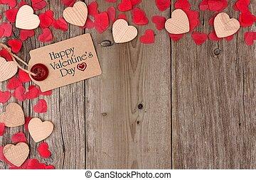 bois, cadeau, bois, valentines, dispersé, rustique, étiquette, fond, cœurs, confetti, coin, frontière, jour, heureux