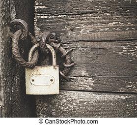 bois, cadenas, vieux, porte