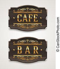 bois, café, barre, signes