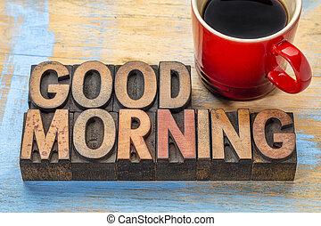 bois, café, bon, type, matin