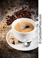 bois, café, nature morte, surface