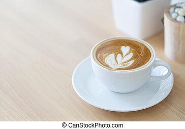 bois, café, verre art, vendange, foyer, couleur, tulipe, forme, sélectif, closeup, fond, latte