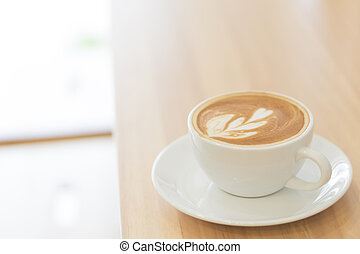 bois, café, verre art, vendange, sommet, foyer, couleur, tulipe, forme, sélectif, closeup, fond, latte, vue