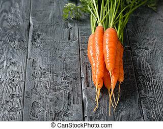 bois, carottes, text., sombre, endroit, frais, table., tas