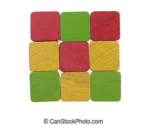 bois, carrée, cubes