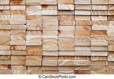 bois, carrée, pile, planches