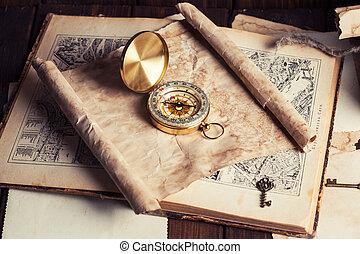 bois, carte, vieux, table, compas