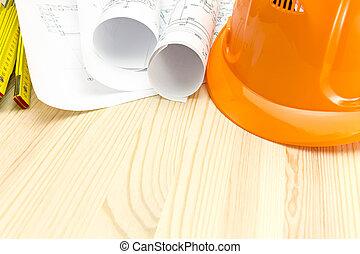 bois, casque, modèles, sécurité, bureau