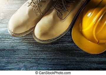 bois, casquette, sécurité, planche, bottes