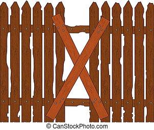 bois, cassé, barrière