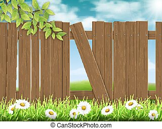 bois, cassé, planche, barrière