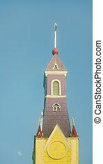 bois, catholique, église, chiloe, île, chili