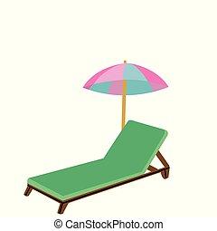 bois, chaise plage, parapluie